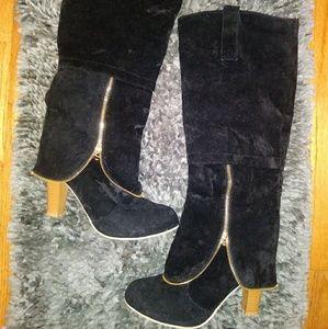 Shoes - Faux Suede Riding Boots